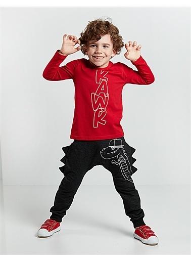 Denokids Tırtır Erkek Çocuk Pantolon Takım Kırmızı